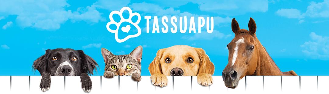 tassuapu logo, jonka alla kaksi koiraa, kissa ja hevonen kurkkivat aidan yli